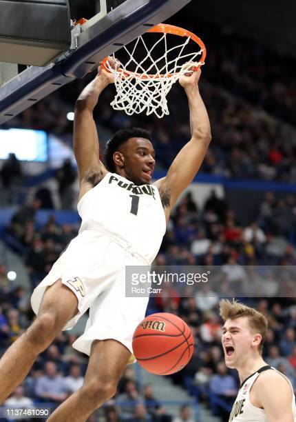 Aaron Wheeler of the Purdue Boilermakers dunks in the first half against the Old Dominion Monarchs during the 2019 NCAA Men's Basketball Tournament...