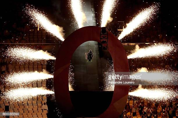 Aaron Wheelz rides off a ramp at the beginning of the Opening Ceremony of the Rio 2016 Paralympic Games at Maracana Stadium on September 7 2016 in...