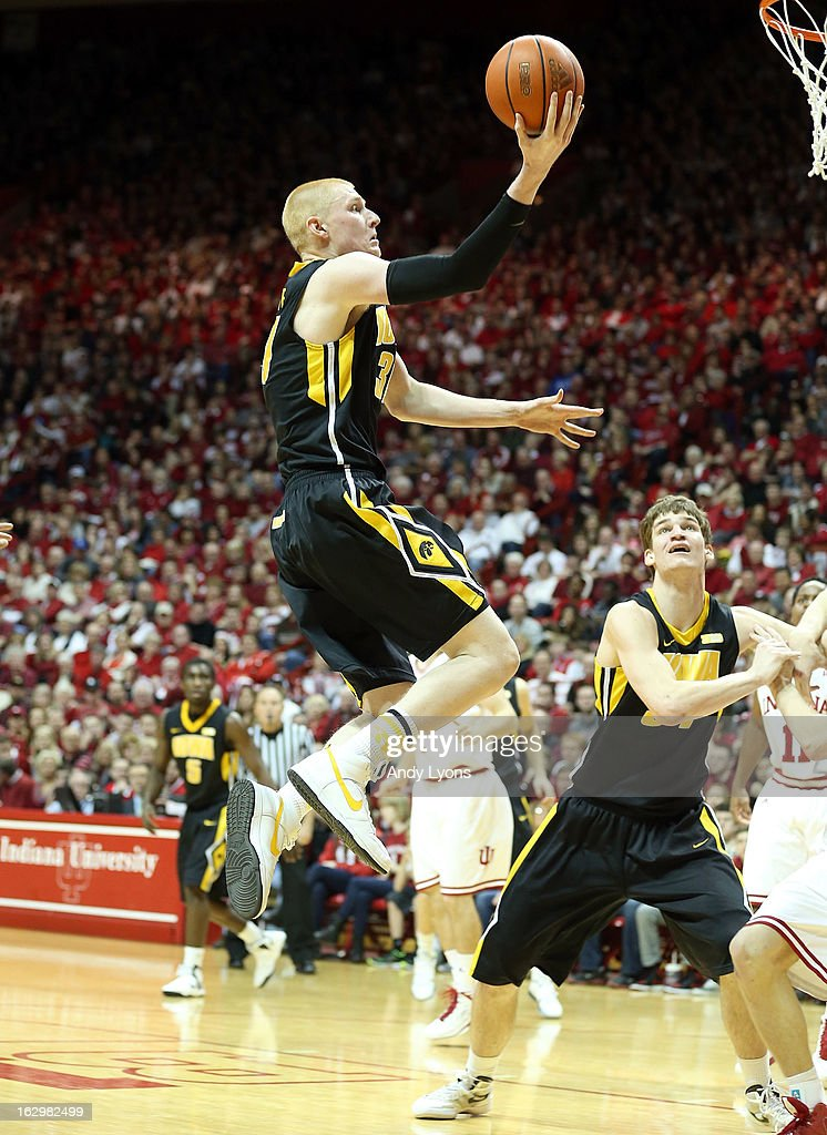Aaron White #30 of the Iowa Hawkeyes shoots the ball during the game against the Indiana Hoosiers at Assembly Hall on March 2, 2013 in Bloomington, Indiana.