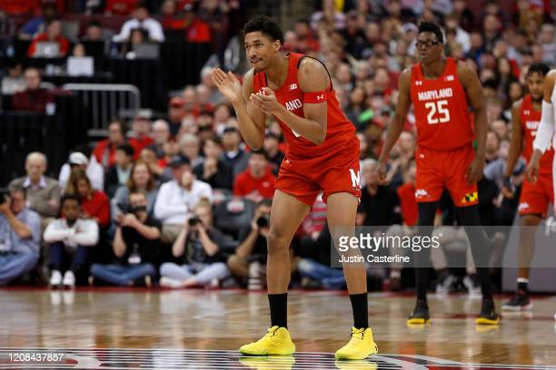 Aaron Wiggins of the Maryland Terrapins in action in the game against the Ohio State Buckeyes at Value City Arena on February 23 2020 in Columbus Ohio