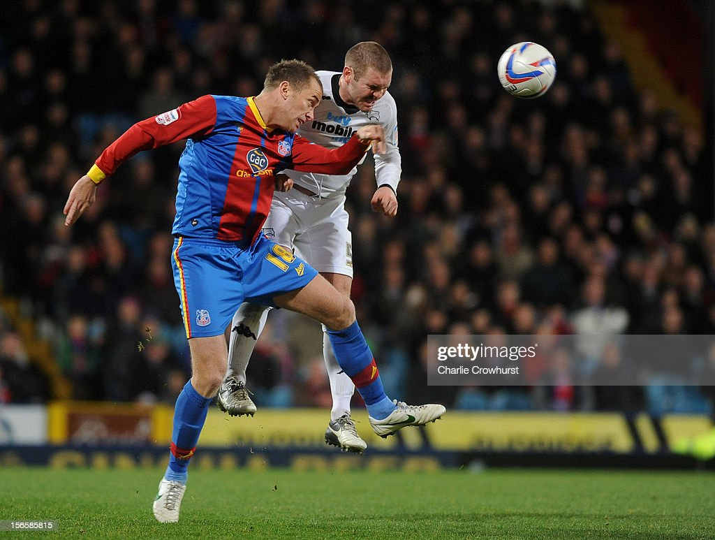Aaron Wilbraham of Crystal Palace goes up with Jake Buxton of Derby during the npower Championship match between Crystal Palace and Derby County at Selhurst Park on November 17, 2012 in London, England.