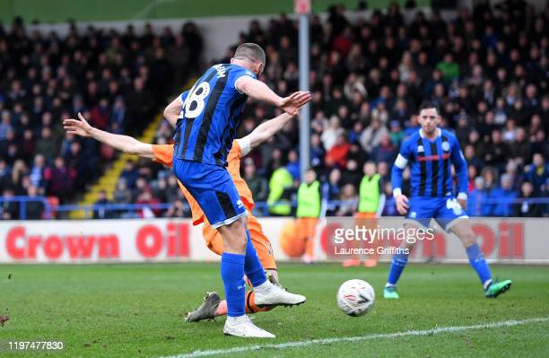Aaron Wilbraham of Rochdale scores his team's first goal during the FA Cup Third Round match between Rochdale AFC and Newcastle United at Spotland...