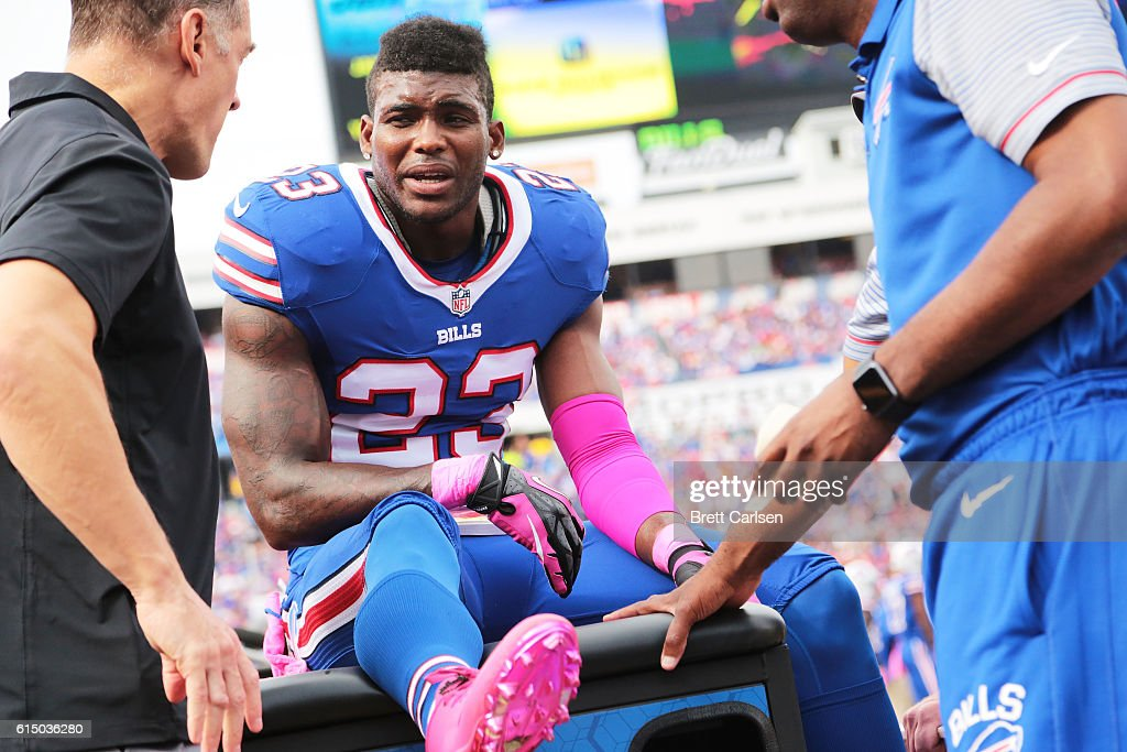 Aaron Williams #23 of the Buffalo Bills is looked after on the sidlelines during the first half against the San Francisco 49er at New Era Field on October 16, 2016 in Buffalo, New York.
