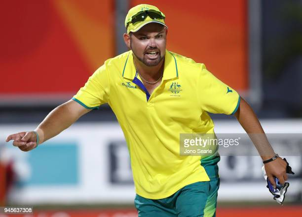 Aaron Wilson of Australia celebrates after winning the gold medal in the men's singles gold medal match between Aaron Wilson of Australia and Ryan...