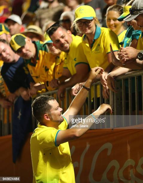 Aaron Wilson of Australia thanks supporters after winning the gold medal in the men's singles gold medal match between Aaron Wilson of Australia and...