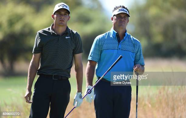 Aaron Wise and Eric Axley watch Wise's drive on the third hole during round three of the WinCo Foods Portland Open at Pumpkin Ridge Golf Club Witch...