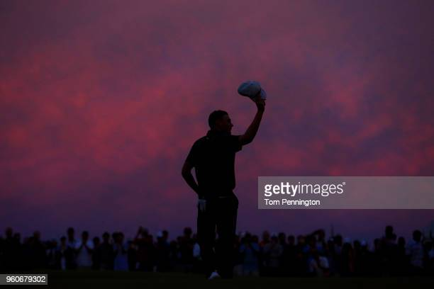 Aaron Wise celebrates on the 18th green after winning the ATT Byron Nelson at Trinity Forest Golf Club on May 20 2018 in Dallas Texas
