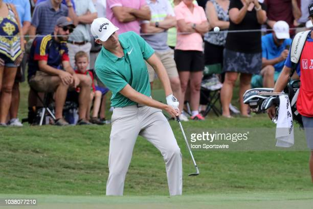 Aaron Wise chips onto the second green during the third round of the Tour Championship on September 22 at East Lake Golf Club in Atlanta GA