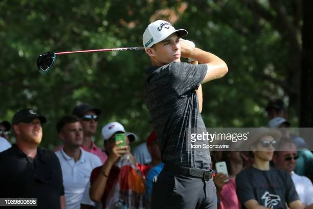 Aaron Wise during the final round of the Tour Championship on September 23 at East Lake Golf Club in Atlanta GA