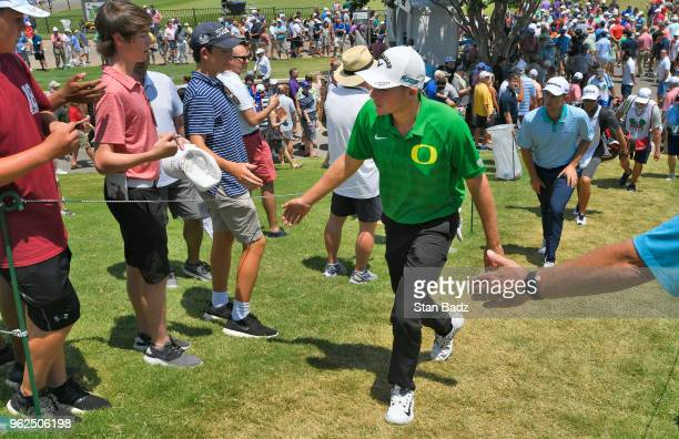 Aaron Wise greets fans during the second round of the Fort Worth Invitational at Colonial Country Club on May 25 2018 in Fort Worth Texas