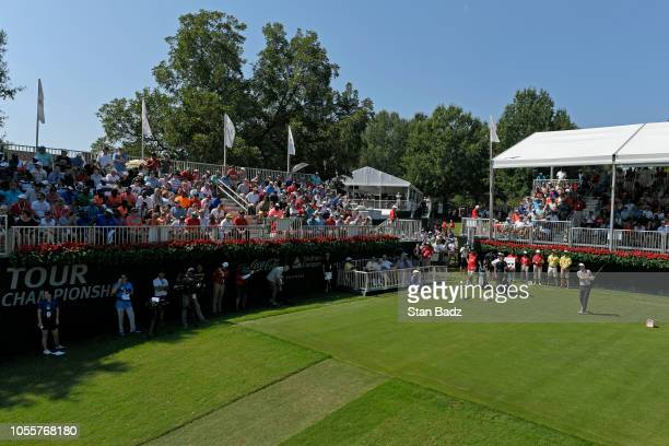 Aaron Wise hits his tee shot at the first tee during the first round of the TOUR Championship at East Lake Golf Club on September 20 in Atlanta...