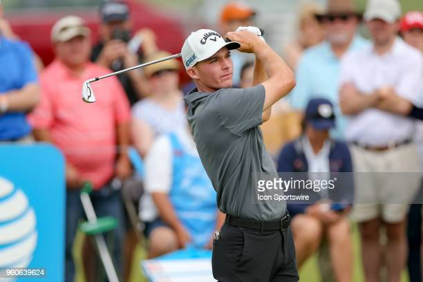 Aaron Wise hits his tee shot on during the final round of the 50th annual ATT Byron Nelson on May 20 2018 at Trinity Forest Golf Club in Dallas TX