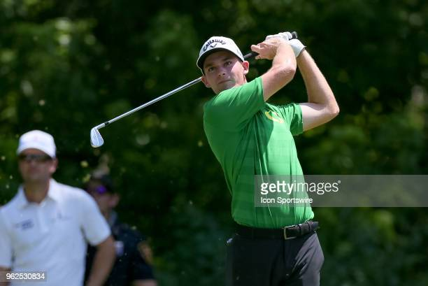 Aaron Wise hits his tee shot on during the second round of the Fort Worth Invitational on May 25 2018 at Colonial Country Club in Fort Worth TX