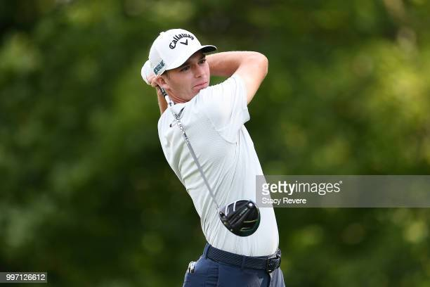 Aaron Wise hits his tee shot on the 15th hole during the first round of the John Deere Classic at TPC Deere Run on July 12 2018 in Silvis Illinois