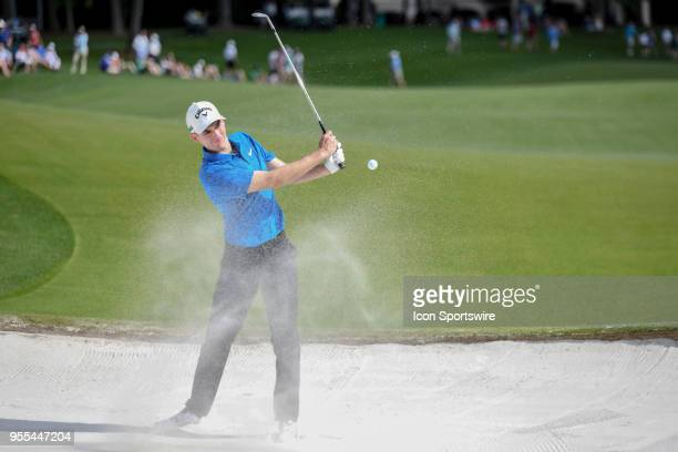 Aaron Wise hits out of the sand during the final round of the Wells Fargo Championship on May 6 2018 at Quail Hollow Club in Charlotte NC