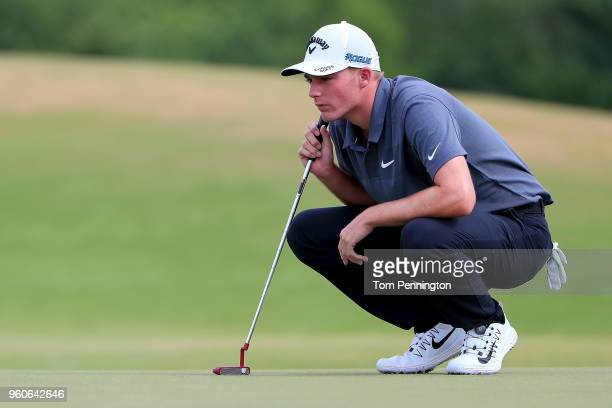 Aaron Wise lines up a putt on the sixth green during the final round of the ATT Byron Nelson at Trinity Forest Golf Club on May 20 2018 in Dallas...