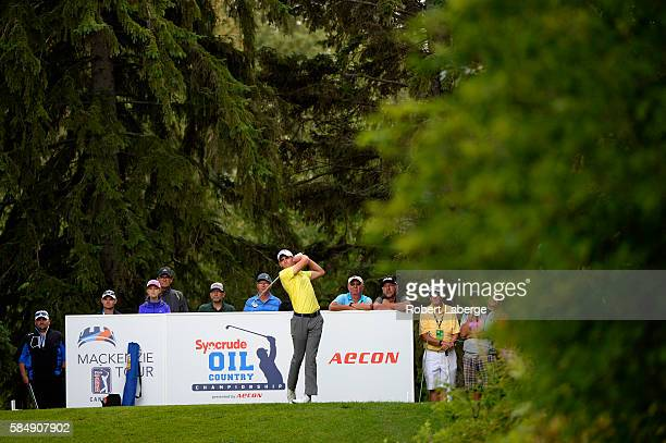 Aaron Wise makes a tee shot on the 18th hole during the final round of the Syncrude Oil Country Championship presented by AECON at the Glendale Golf...