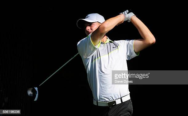 Aaron Wise of Oregon hits his drive on the 17th hole during round three of the 2016 NCAA Division I Men's Golf Championship at Eugene Country Club on...
