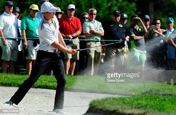 Aaron Wise of Oregon hits out of a bunker on the 15th hole during round three of the 2016 NCAA Division I Men's Golf Championship at Eugene Country...