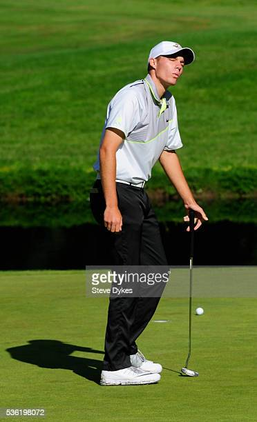 Aaron Wise of Oregon reacts to missing a putt on the 15th hole during round three of the 2016 NCAA Division I Men's Golf Championship at Eugene...