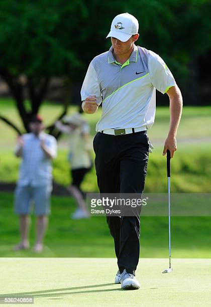 Aaron Wise of Oregon reacts to sinking his putt on the 15th hole during round three of the 2016 NCAA Division I Men's Golf Championship at Eugene...