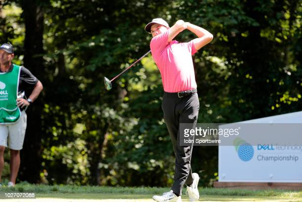 Aaron Wise of the United State drives from the 9th tee during the Second Round of the Dell Technologies Championship on September 1 at TPC Boston in...