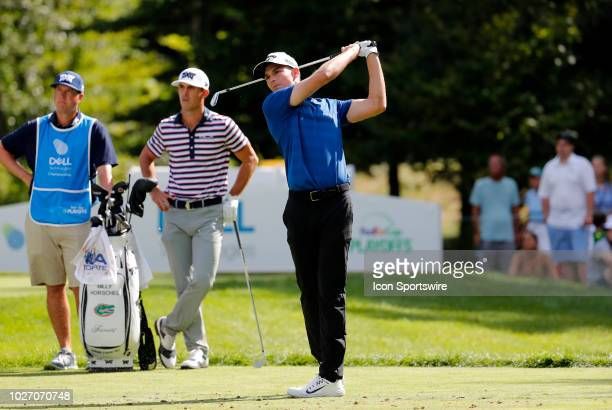 Aaron Wise of the United State hits from the 8th tee during the First Round of the Dell Technologies Championship on August 31 at TPC Boston in...