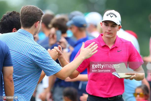 Aaron Wise of the United States during the final round of The Northern Trust on August 26 2018 at the Ridgewood Championship Course in Ridgewood New...