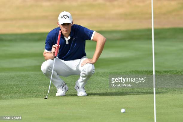 Aaron Wise of the United States lines up a shot during the second round of the Desert Classic at the Nicklaus Tournament Course on January 18 2019 in...