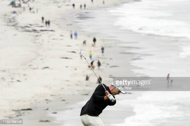 Aaron Wise of the United States plays a second shot on the ninth hole during the first round of the 2019 U.S. Open at Pebble Beach Golf Links on June...