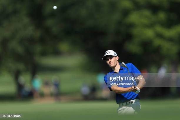 Aaron Wise of the United States plays a shot during a practice round prior to the 2018 PGA Championship at Bellerive Country Club on August 8 2018 in...