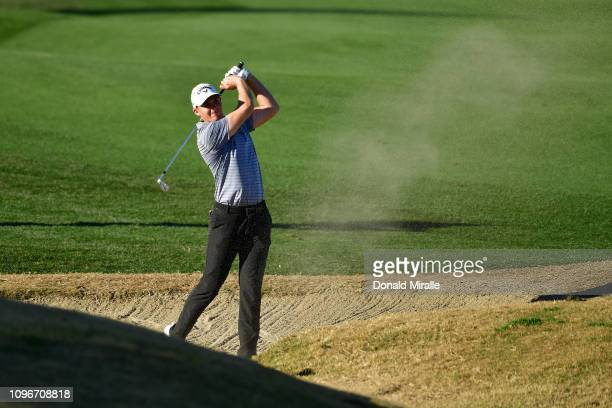 Aaron Wise of the United States plays a shot during the third round of the Desert Classic at the Stadium Course on January 19 2019 in La Quinta...