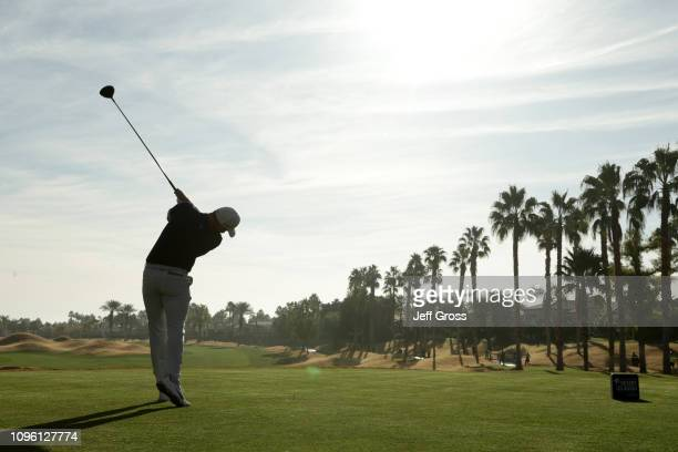 Aaron Wise of the United States plays a shot on the 11th tee during the second round of the Desert Classic at the Stadium Course on January 18 2019...