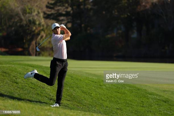 Aaron Wise of the United States plays a shot on the 14th hole during the second round of THE PLAYERS Championship on THE PLAYERS Stadium Course at...