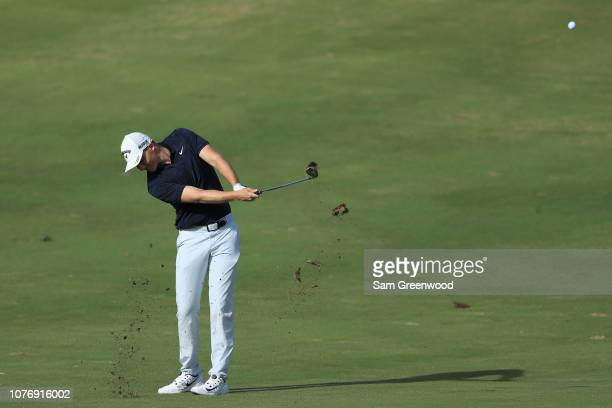 Aaron Wise of the United States plays a shot on the 16th hole during the first round of the Sentry Tournament of Champions at the Plantation Course...