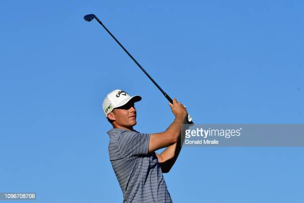 Aaron Wise of the United States plays a shot on the 17th hole during the third round of the Desert Classic at the Stadium Course on January 19 2019...