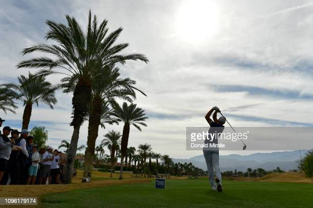 Aaron Wise of the United States plays a shot on the 2nd tee during the second round of the Desert Classic at the Nicklaus Tournament Course on...