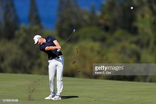 Aaron Wise of the United States plays a shot on the fourth hole during the first round of the Sentry Tournament of Champions at the Plantation Course...