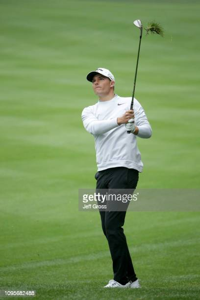Aaron Wise of the United States plays an approach shot on the 5th hole during the first round of the Desert Classic at La Quinta Country Club on...