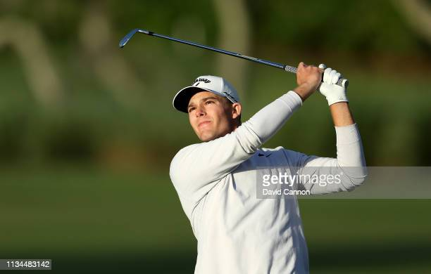 Aaron Wise of the United States plays his second shot on the par 4 10th hole during the second round of the 2019 Arnold Palmer Invitational presented...