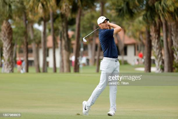 Aaron Wise of the United States plays his second shot on the second hole during the second round of The Honda Classic at PGA National Champion course...