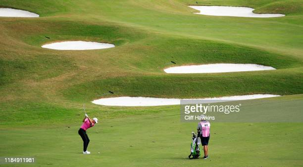 Aaron Wise of the United States plays his second shot on the tenth hole during the second round of the Bermuda Championship at Port Royal Golf Course...