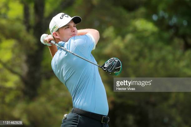 Aaron Wise of the United States plays his shot from the 11th tee during the second round of World Golf ChampionshipsMexico Championship at Club de...