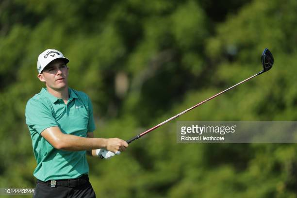 Aaron Wise of the United States plays his shot from the 12th tee during the second round of the 2018 PGA Championship at Bellerive Country Club on...