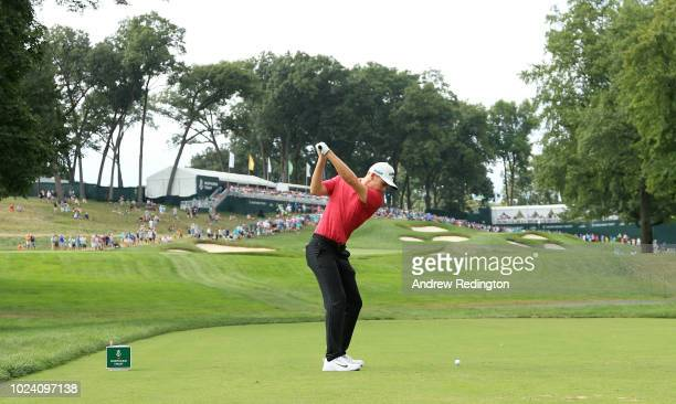 Aaron Wise of the United States plays his shot from the 12th tee during the final round of The Northern Trust on August 26, 2018 at the Ridgewood...