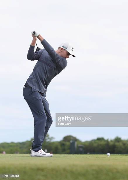 Aaron Wise of the United States plays his shot from the 12th tee during the second round of the 2018 US Open at Shinnecock Hills Golf Club on June 15...