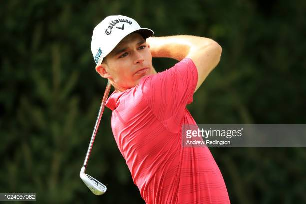 Aaron Wise of the United States plays his shot from the 14th tee during the final round of The Northern Trust on August 26, 2018 at the Ridgewood...