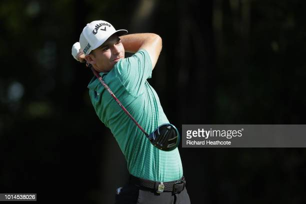 Aaron Wise of the United States plays his shot from the 17th tee plays his shot from the 17th tee during the second round of the 2018 PGA...