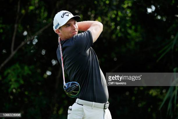 Aaron Wise of the United States plays his shot from the 18th tee during the final round of the Mayakoba Golf Classic at El Camaleon Mayakoba Golf...
