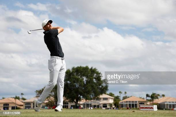 Aaron Wise of the United States plays his shot from the fifth tee during the third round of The Honda Classic at PGA National Champion course on...